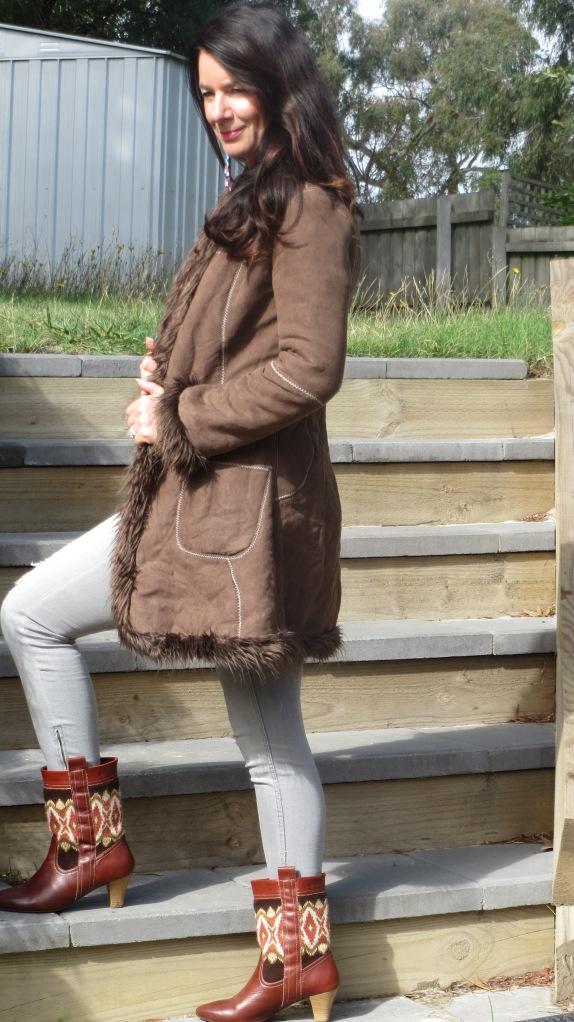 Brown jacket, zara boots 1