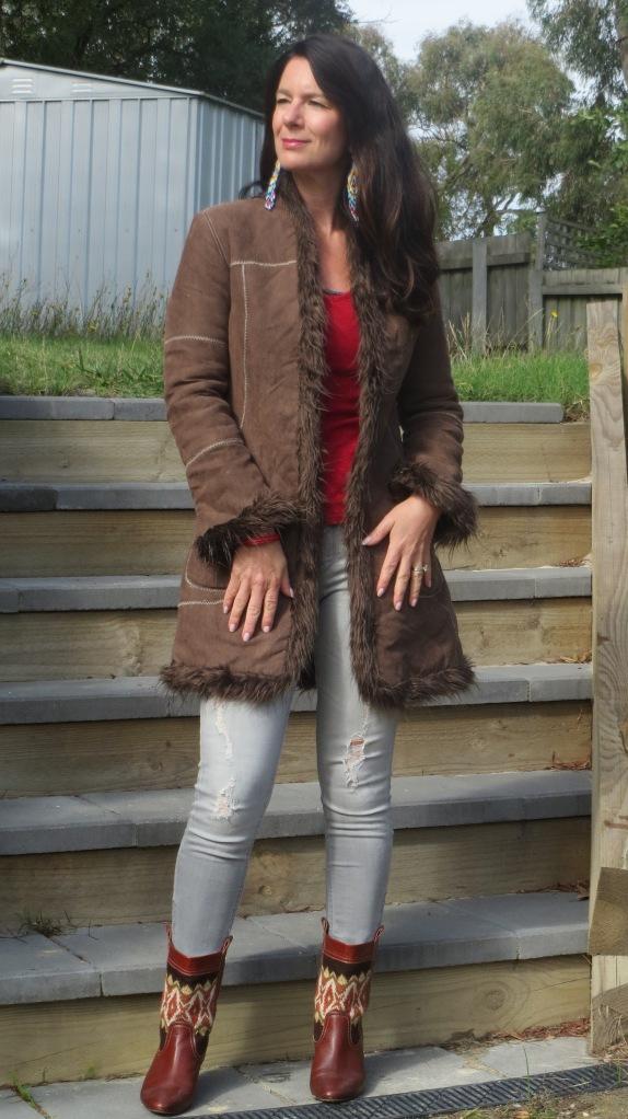 Brown jacket, zara boots 3