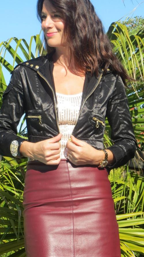 Burgundy leather skirt 2