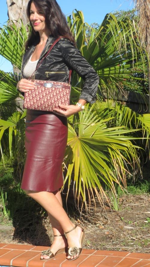 Burgundy leather skirt 5