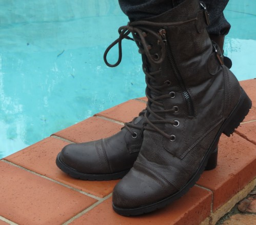 Chocolate flat lace-up boots