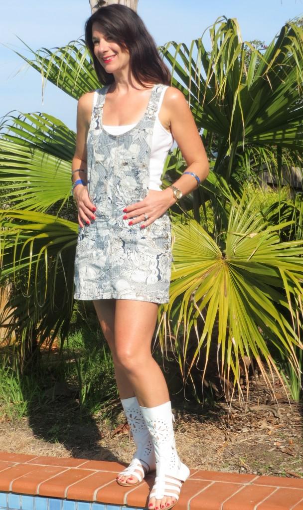 Printed denim mini-skirt overalls 2