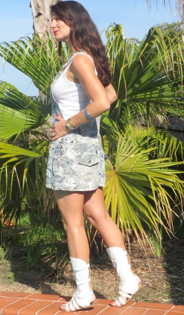 Printed denim mini-skirt overalls 4