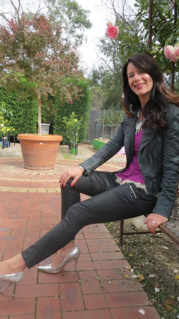 Purple peplum, silver heels 1