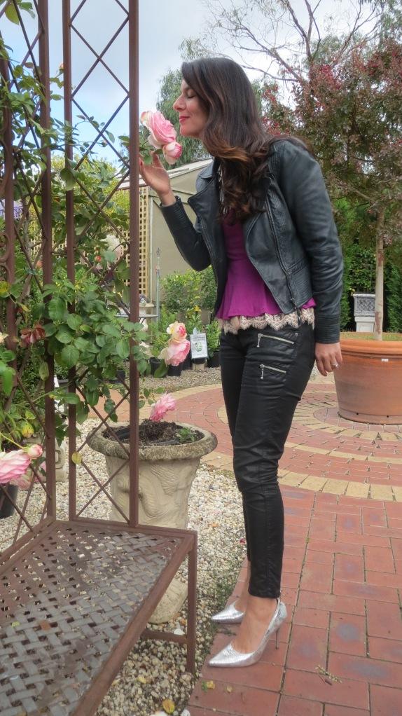 Purple peplum, silver heels 2