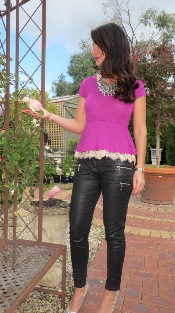 Purple peplum, silver heels 3