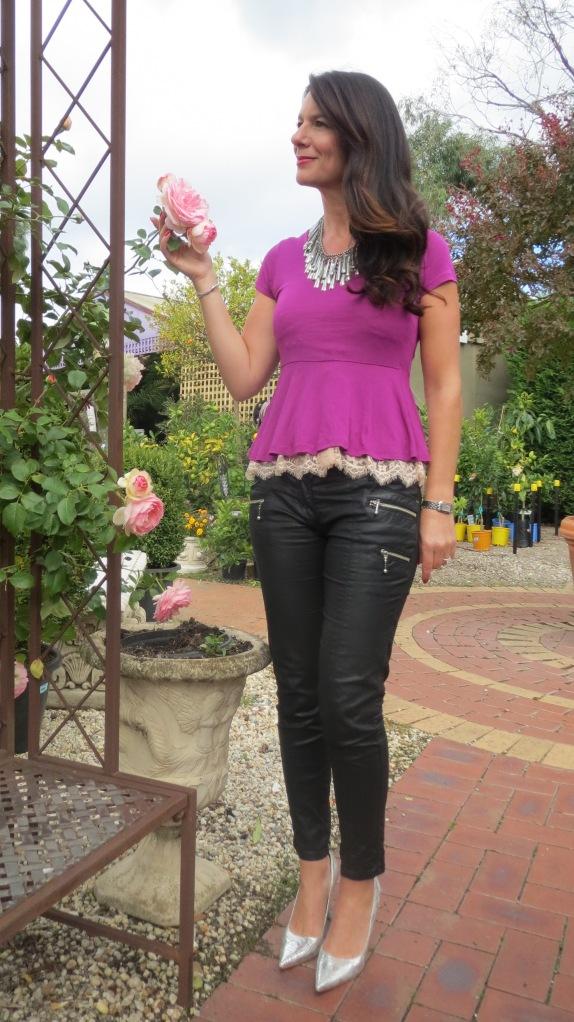 Purple peplum, silver heels 4