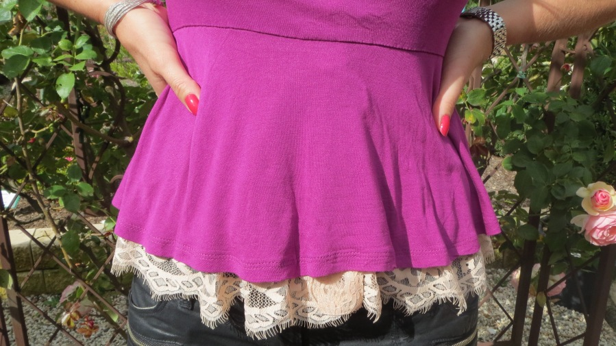 Purple peplum, silver heels 5