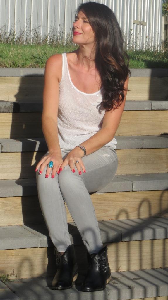 Zara jeans, white sequins 2