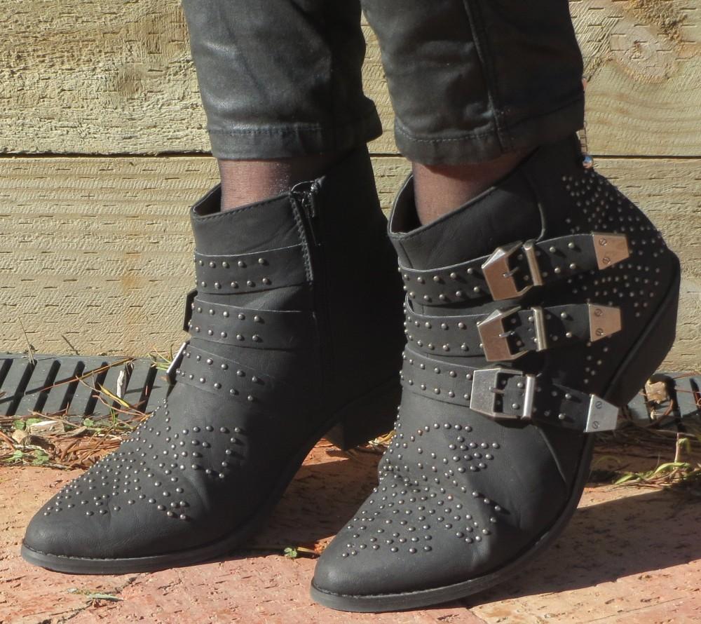Black stud& buckle booties