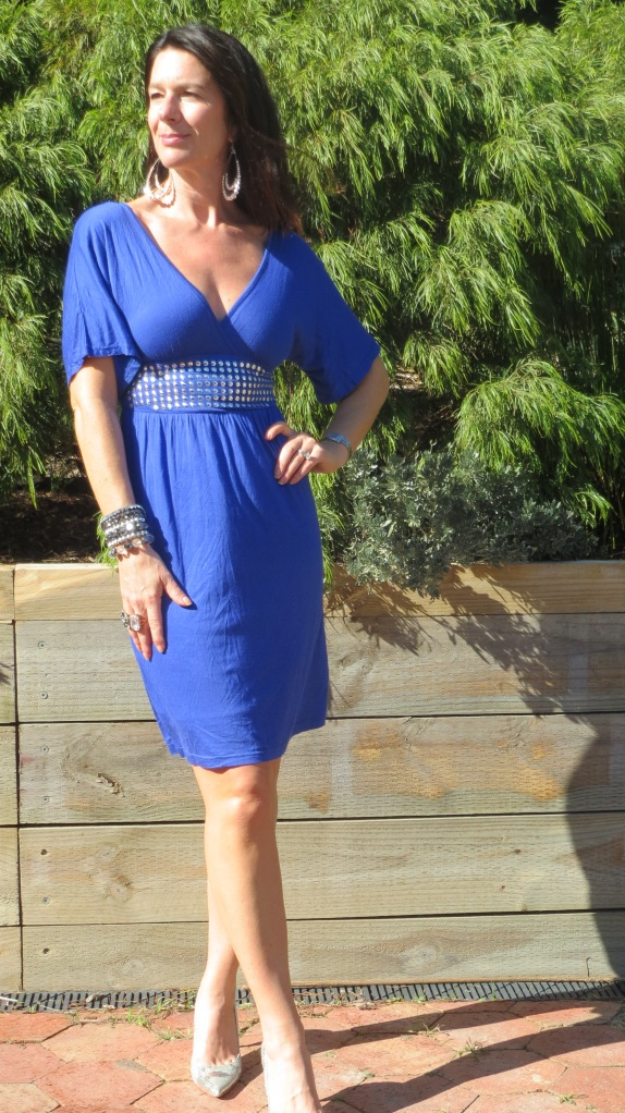 Blue stud dress 1