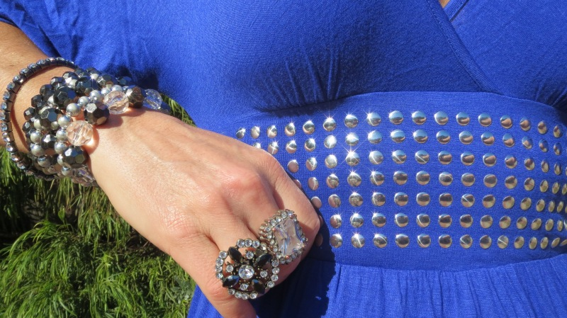 Blue stud dress & jewellery