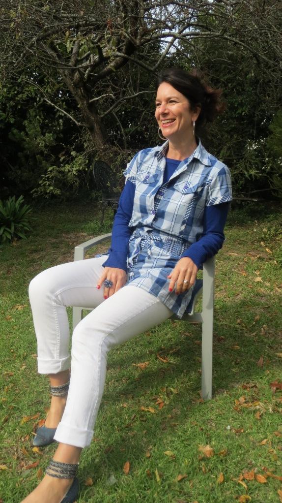 Blue & white check shirt 1