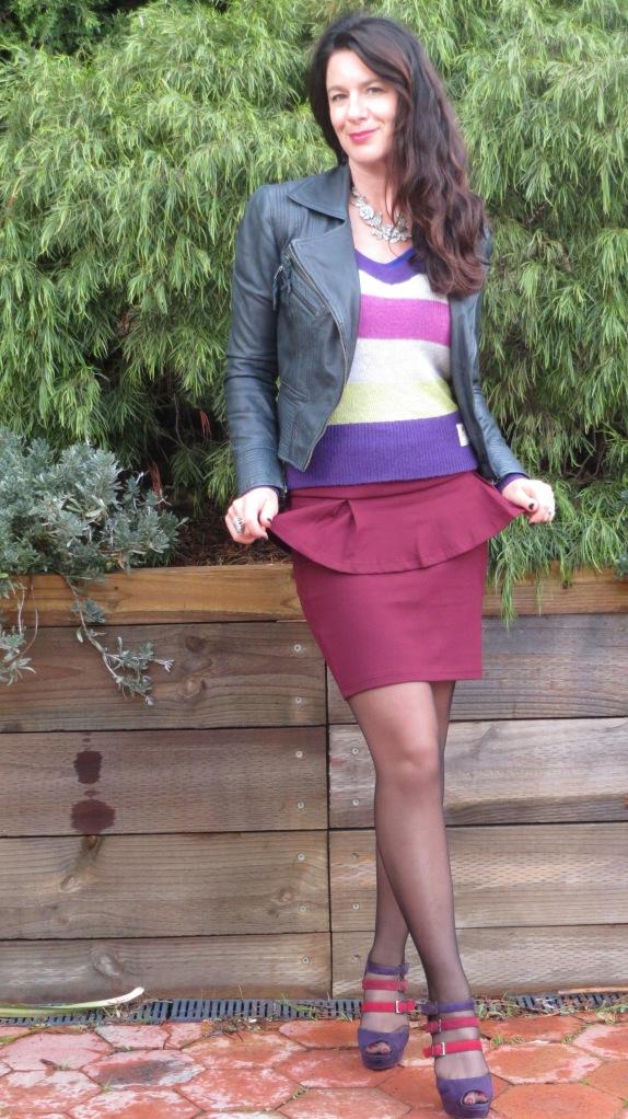 Burgundy peplum skirt 2