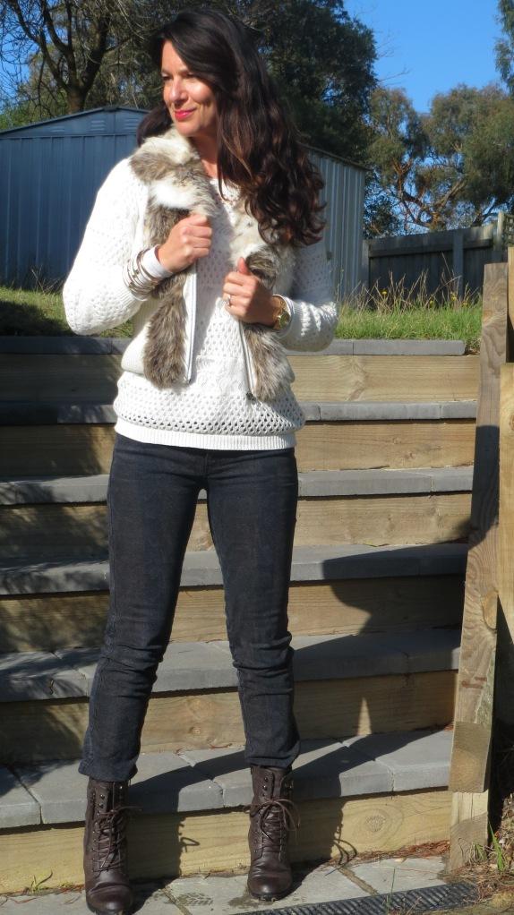 Fur vest, snakeskin jeans 1