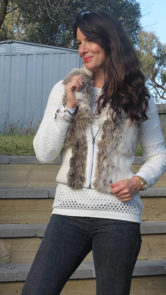 Fur vest, snakeskin jeans 3