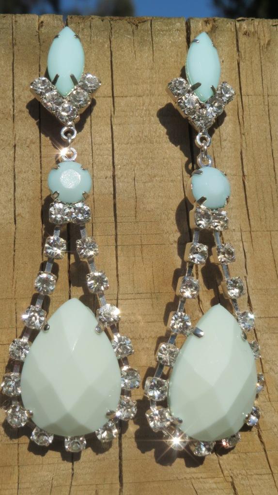 Green & diamante earrings