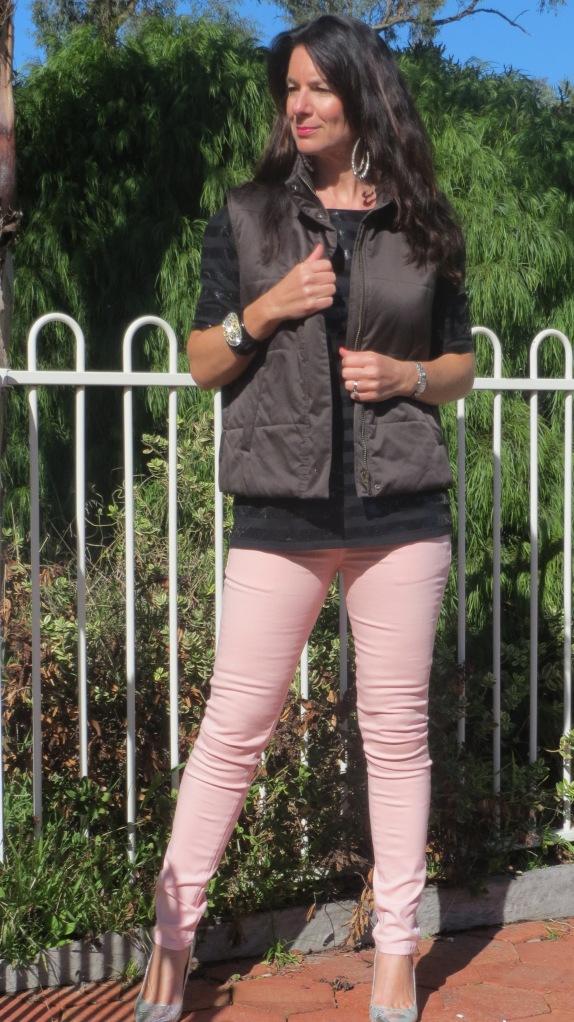 Pink jeans, zara top, Max Mara vest 1