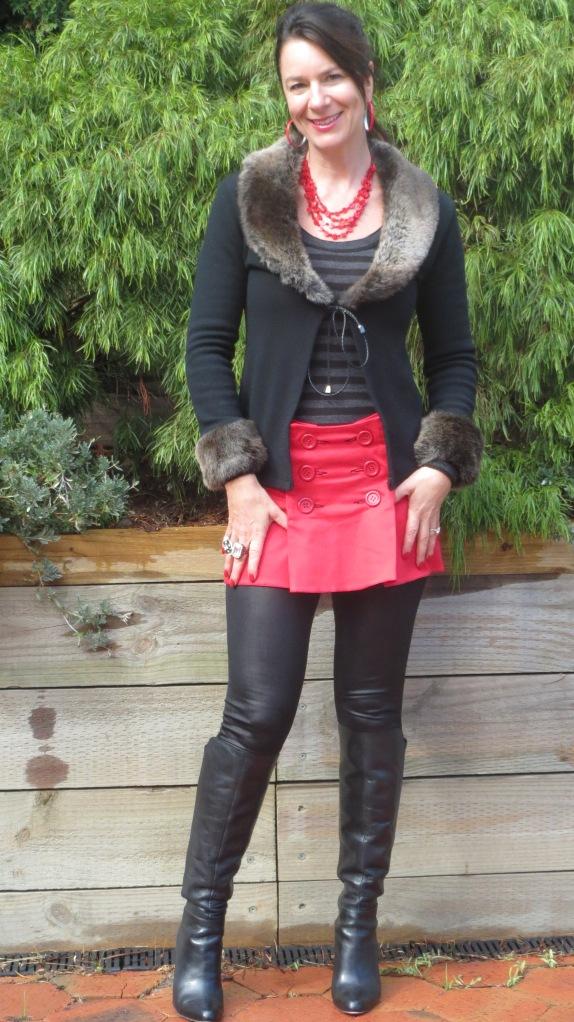 Red mini skirt 1
