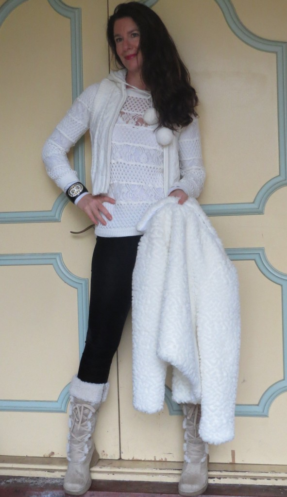 White fur boots & jkt 3