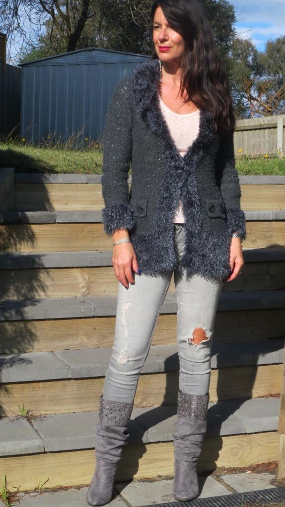 Zara jeans, knit jacket 1