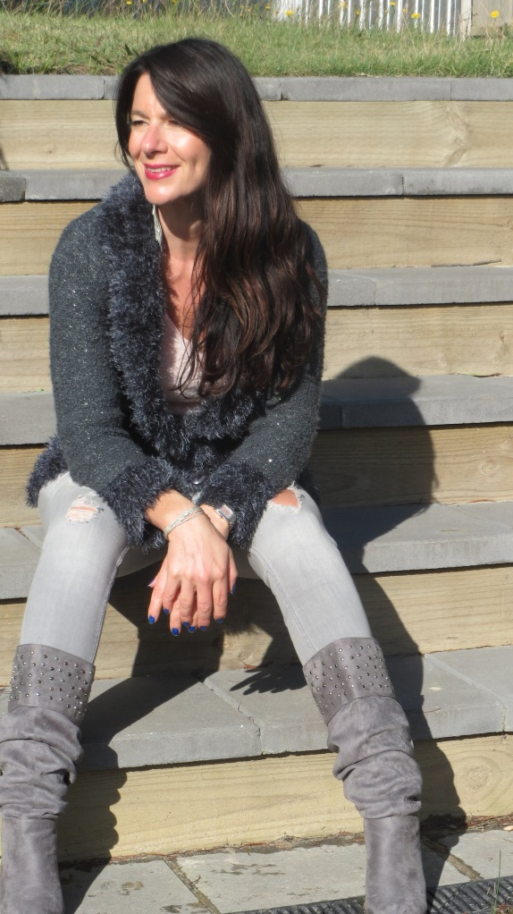 Zara jeans, knit jacket 3