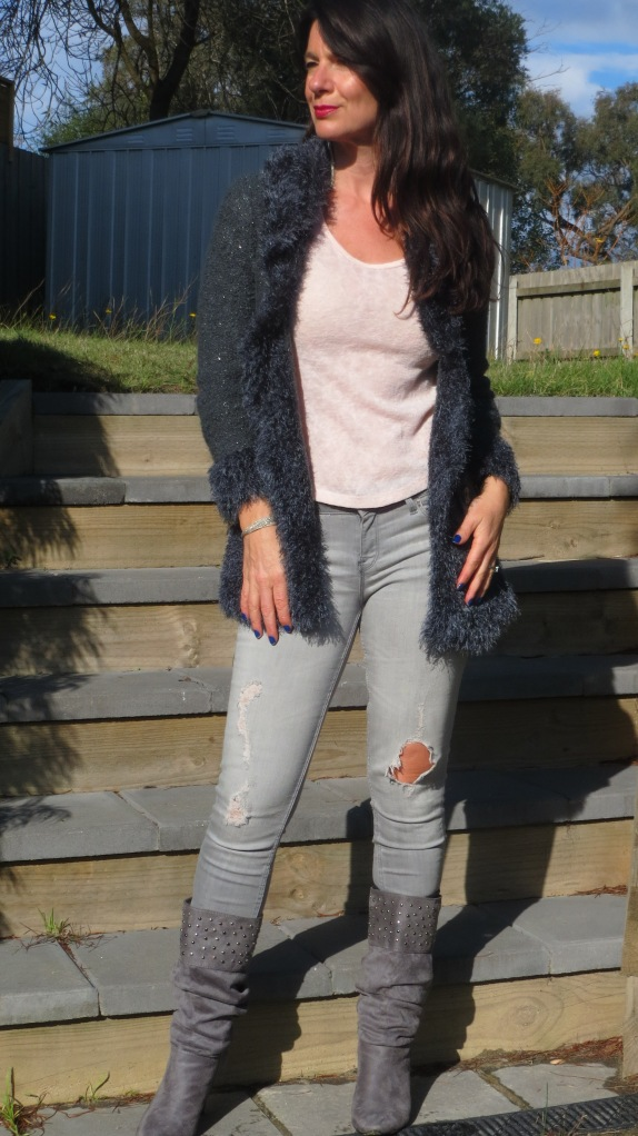 Zara jeans, knit jacket 4