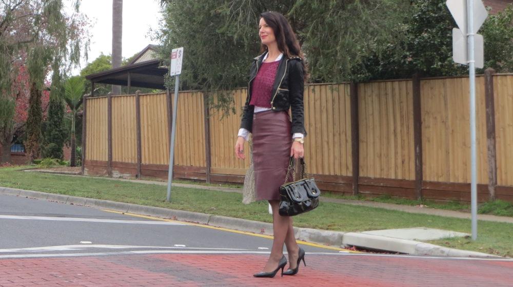 Bardot grape top & leather skirt 1