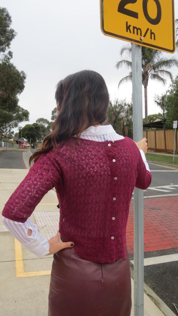 Bardot grape top & leather skirt 2