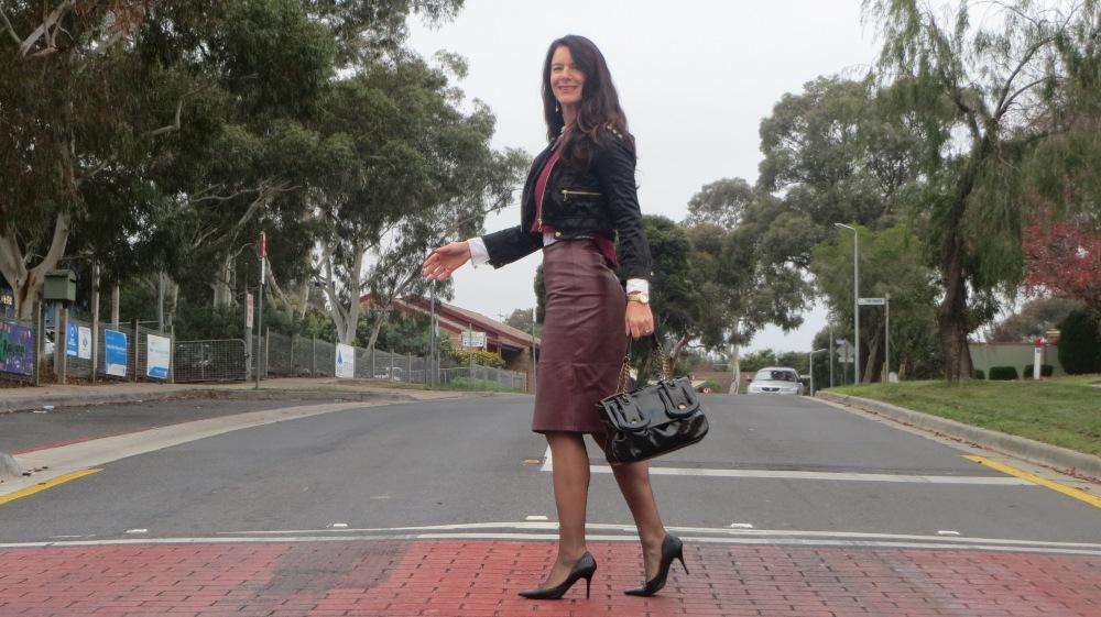 Bardot grape top & leather skirt 4