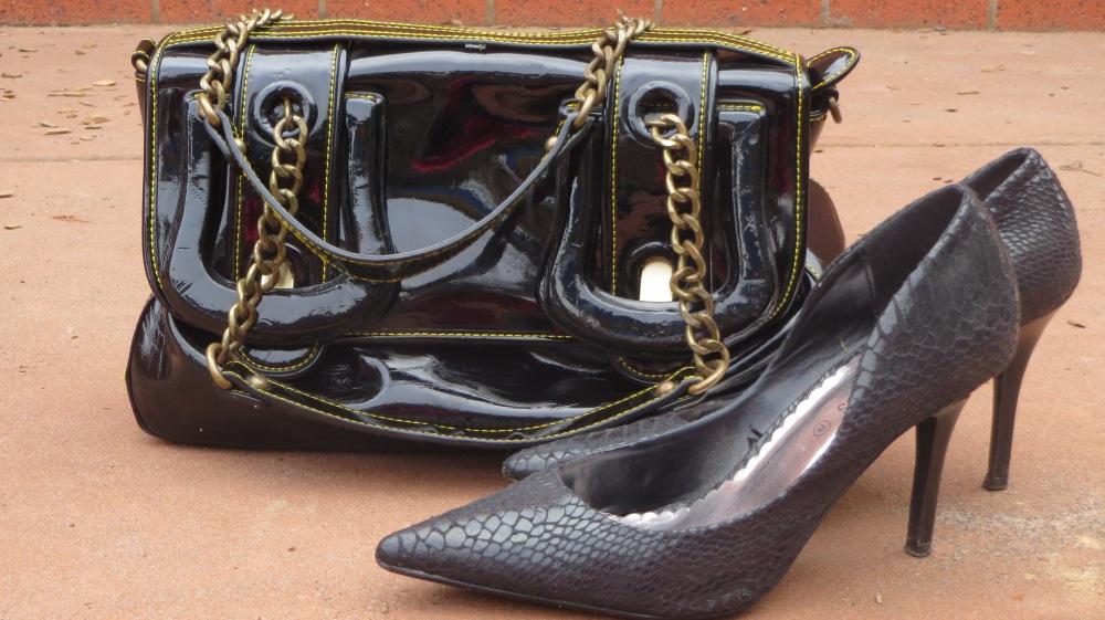 Black heels & patent handbag