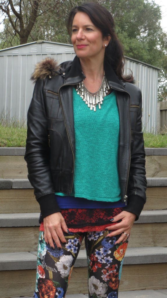 Floral leggings, silver neckpiece 2