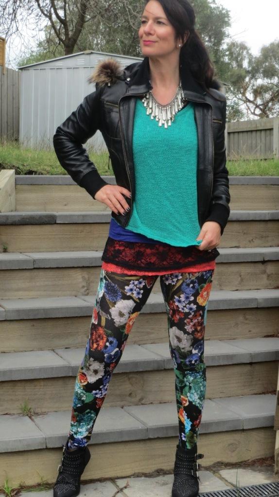 Floral leggings, silver neckpiece 4