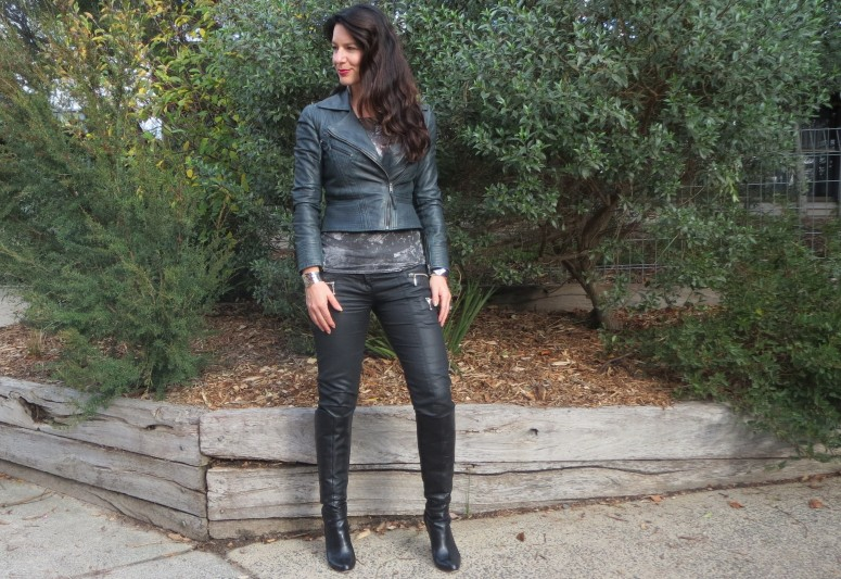 Leather jkt, jeans 1