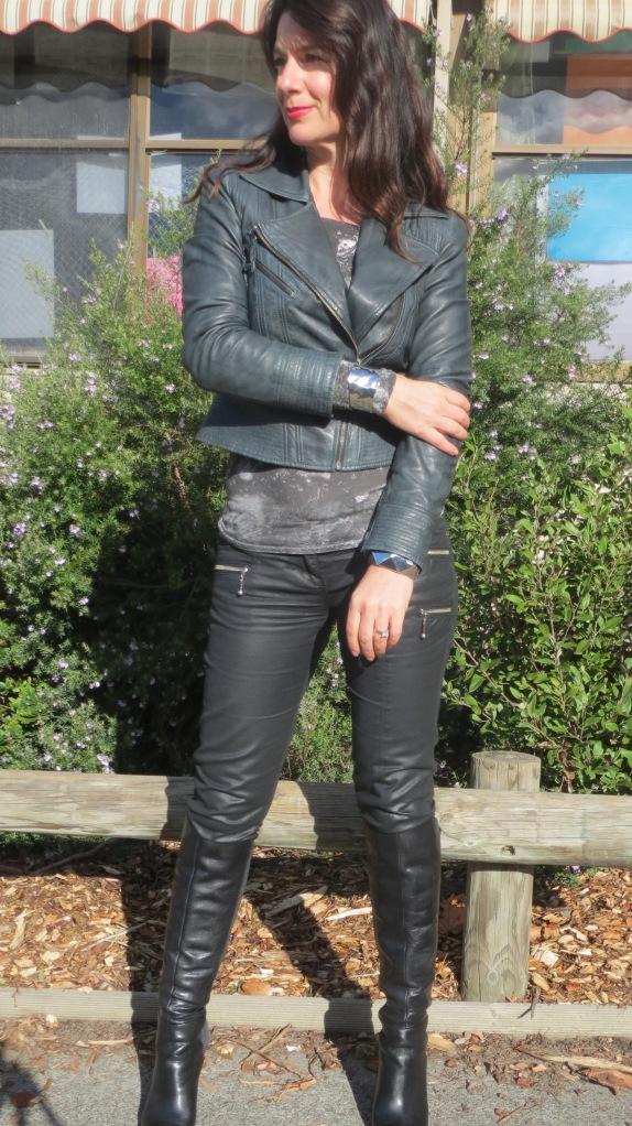 Leather jkt, jeans 2