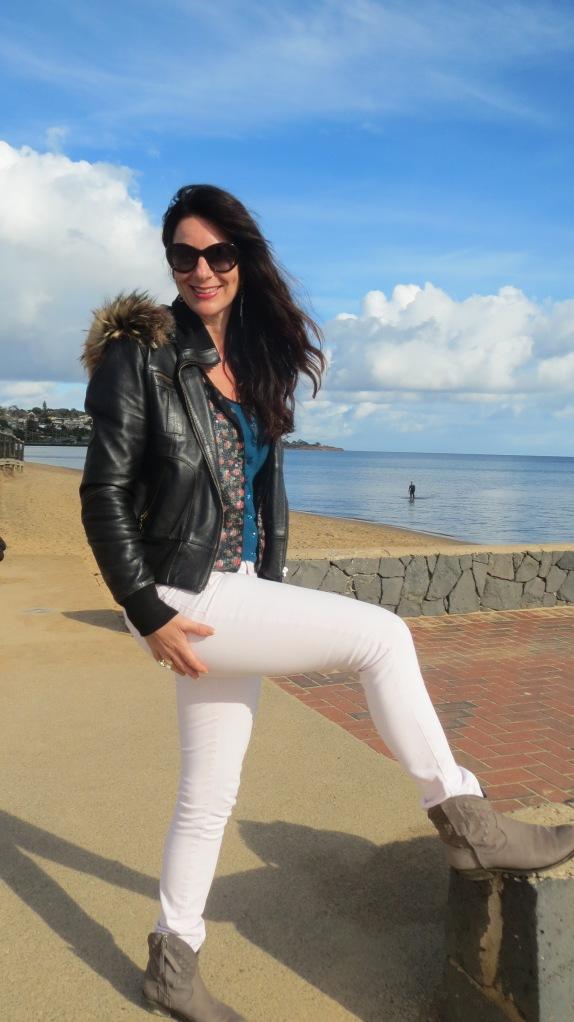 Pink jeans, sequin jkt 1