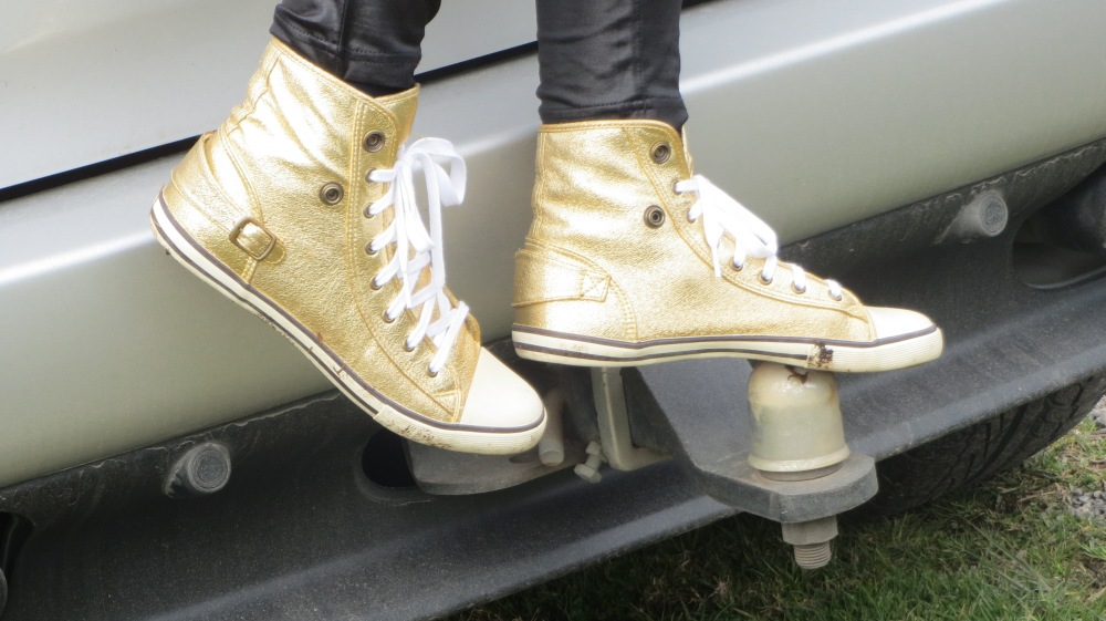 Gold Converse shoes 1
