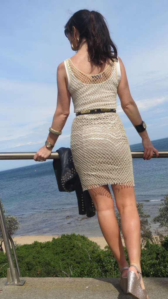 Gold net dress 3