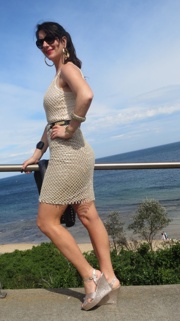 Gold net dress 4