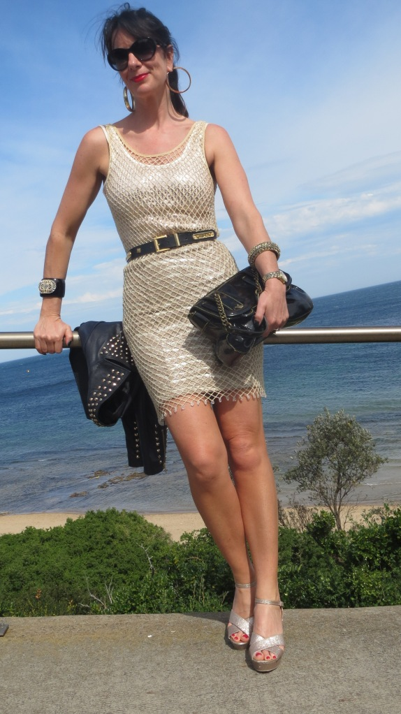 Gold net dress 5