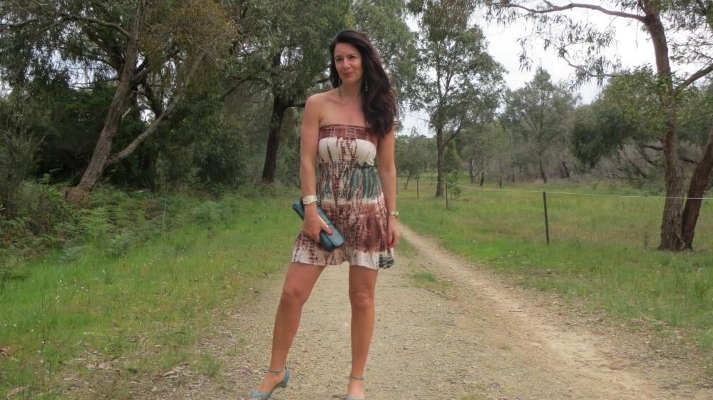 Tie-dye dress, green sandals slider 1