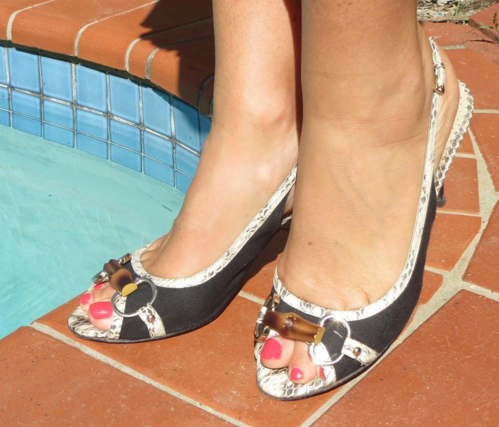 Black, white snakeskin& bamboo heels