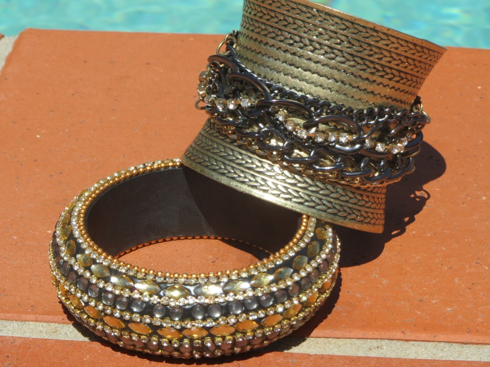 Gold cuff, embellished bangle