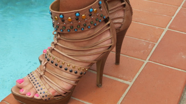Jewel encrusted Nine West strappy platforms 2