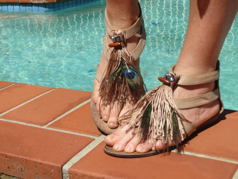 Peacock feather sandals
