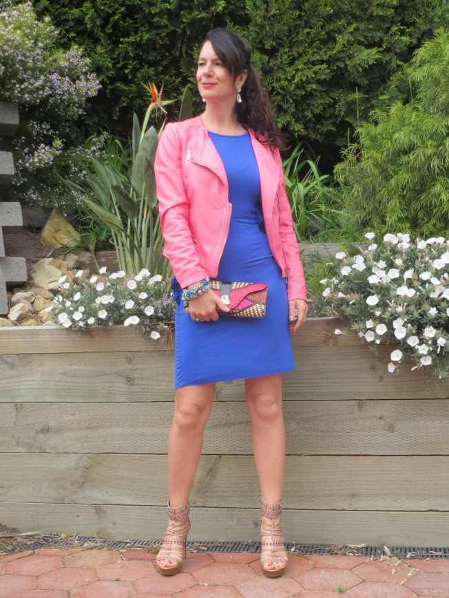 Pink jkt, blue dress 1