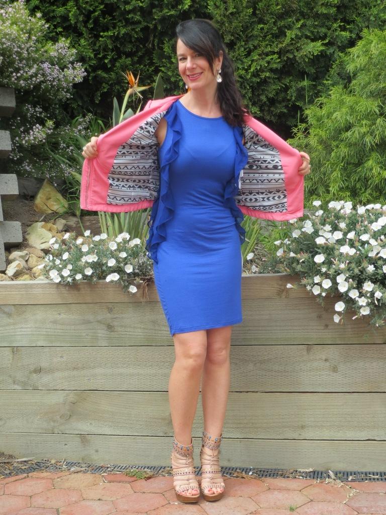 Pink jkt, blue dress 2