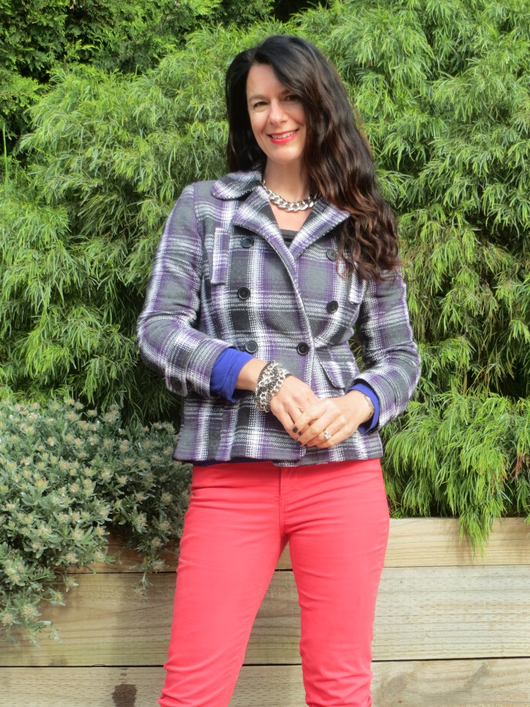 Red jeans, check jkt 5