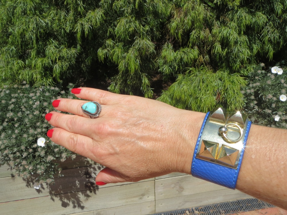 Blue cuff & turquoise ring