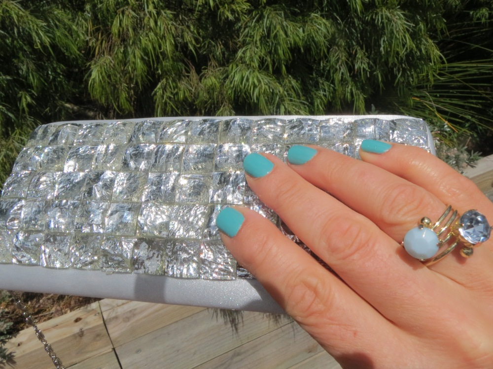 Crystal clutch, mint nails